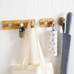Bamboo Key Rack Wall Mount Hanging Organizer Storage Stainless Steel Hook Holder