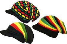 Rasta Knitted Over-sized Slouch Peak Visor Mosaic Striped Beanie Cap Hat