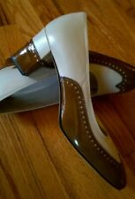 Vtg 60's Naturalizer Cream/Brown Patent Leather Classic Spectator Pumps 8