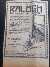 D5-1 ephemera 1914 Advert Dover Raleigh W J George Snargate Bicycle Girl Waving