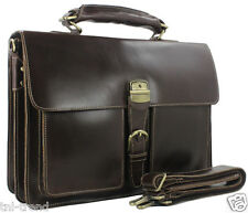 "Luxury Italian Genuine Leather Men Briefcase Business Bag Tote 15""Laptop Case"