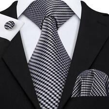 USA Classic Silk Mens Ties Grary Houndstooth Necktie Hankderchief Woven Busienss