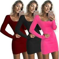 Summer Women Low Cut Dress Bodycon Long Sleeve Party Mini Dress Skirt Q
