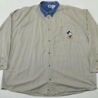 Disney Catalog Vintage Shirt - Embroidered Micky - 4XL - Denim Collar