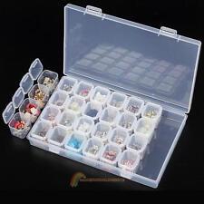 Plastic 28 Slots Nail Art Tools Jewelry Storage Box Case Organizer Beads Holder