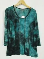 Roz & Ali NWT Women's 1X Textured Semi Sheer 3/4 Sleeve Stretchy Knit Top