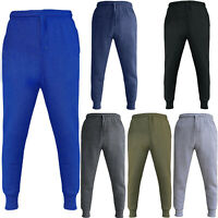 Mens Jogging Joggers Ribbed Elasticated Tracksuit Bottoms Fleece Jog Pants