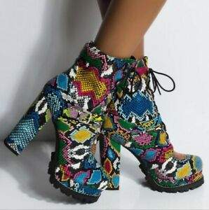Ladies Sexy Chunky Heels Boots Round Toe Lace Up Snake Pattern Combat Boots Shoe