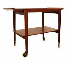 Mid Century Modern Peter Hvidt Mobler Teak Bar Cart Removable Tray Danish 1960s