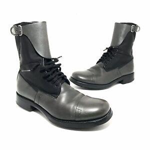 Prada Mens Leather And Nylon Combat Boots Size 8.5 Grey Black