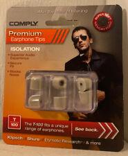 COMPLY Foam Premium Earphone Tips - Isolation T-100 (Platinum, 3 Pairs, Medium)