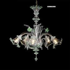 Lampadario in Vetro di Murano - 1005/5 Cristallo Verde- Montatura Oro 24K