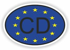 CD Corps DIPLOMATIQUE COUNTRY CODE OVAL WITH EUROPEAN UNION FLAG STICKER bumper