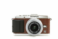 Camera Leather decoration stickers for Olympus PEN E-P3 Crocodile Brown Type