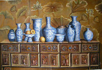 Dream-art oil painting still life Chinese blue and white porcelain vases & table