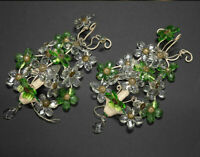 PAIR French Daisy flower green glass wall lights sconces attr maison bagues 1960