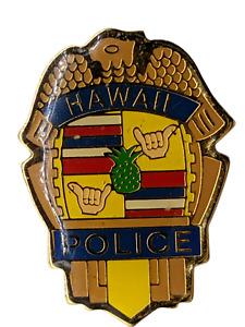 "BEAUTIFUL VINTAGE ""HAWAII SECURITY""  LAPEL PIN BADGE CLOISONNE POLICE-fREE SHIP."