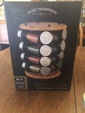 New listing olde thompson 16 Jar Rotatind Wood Spice Rack