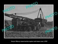 OLD POSTCARD SIZE PHOTO OF 2 SAWYER MASSEY STEAM TRACTORS AND STEAM CRANE c1920