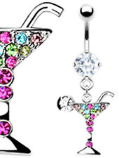 BELLY BARS Crystal Surgical Steel Silver Gold Dangle Navel Body Piercing Bar