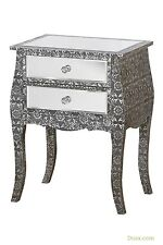 Blackened Silver Metal Embossed Mirrored 2 Drawer Bedside Table Curved