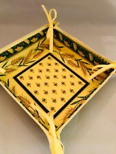 French Provencal Cotton Bread Basket Panier - Wheat Print - Made In France
