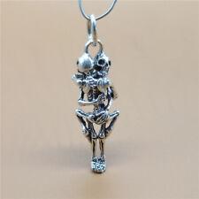 Sterling Silver Skull Skeleton Forever Love Sex Pendant for Necklace