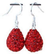 Lovely Luccicante Shamballa Cristalli Rosso Brillante Orecchini a Goccia - 15mm x 12mm