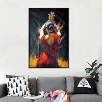 LMOP910 modern abstract dancing red dress girl hand  art oil painting on canvas