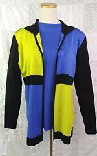 Exclusively Misook Cardigan Set Mondrian Style Modern Art Primary Color Block  S
