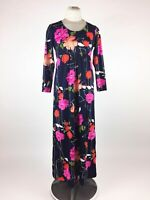 Vintage 1960s Pink Floral Dress Maxi Caftan Hostess Gown Empire Waist Polyester