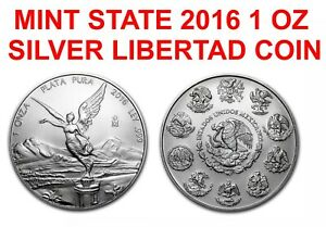 2016 ONE 1 TROY oz fine 999 Silver Mexican Libertad COIN LOW MINTAGE MINT STATE