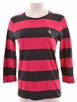 RALPH LAUREN Womens Top 3/4 Sleeve Size 14 Medium Pink Striped Cotton  HN10