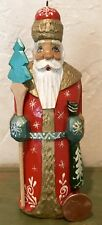 Vintage Russian 1997 Hand Painted Carved Wood Santa 🎅🏼 Artist Signed ~ Perfect