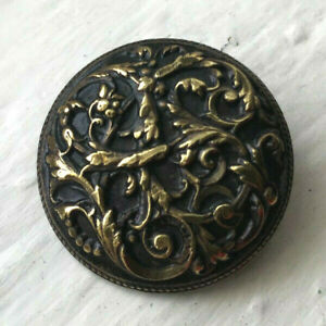 Antique brass picture button~high relief~very detailed Scolling  leaves~31mm