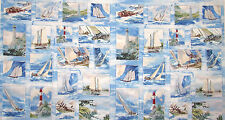Lighthouse Nautical Fabric - Sailing Ship Wind & Waves Wilmington #83037 - PANEL
