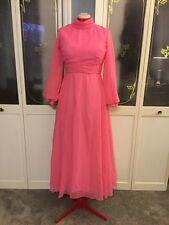Vintage 1950's Pink Sheer Flowy Wedding Chiffon BoHo Maxi Dress