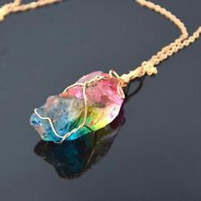 Rainbow Aura Quartz Crystal Pendulum Necklace Pendant Crystal Fashion Chakr E9H6