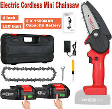 550W 21V Electric Cordless Chain Saw One-Hand Saw Wood Cutter w/ Battery&Charge