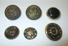 6 FLOWER EMBOSSED METAL GOLD TONE VINTAGE BUTTONS  ***
