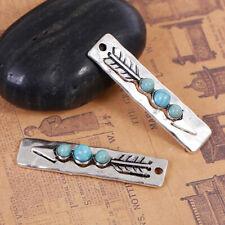 3Pcs Boho Chic Pendants Antique Silver Arrowhead Blue Imitation Turquoise Charms