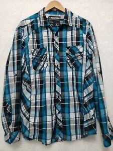 MK Machine PushThe Limit Mens XL Turquoise Plaid Long Sleeve Button Front Shirt