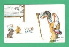 Vintage Artist Signed Postcard Dressed Dog Walking Stick Hat Other Dogs Bed