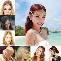 Women Metal Rhinestone Head Chain Jewelry Headband Head Piece Hair band Gift