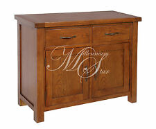 Solid Wood Chunky Dark Oak Medium Sideboard Cupboard Cabinet