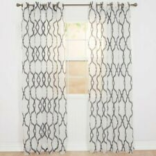 "Trellis Charcoal Gray Emboidered Geometric Sheer Grommet Panel NIP 54"" x 95"""