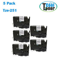 """5PK for Brother P Touch Label Tape Tze251 Tze-251 TZ251 12mm 1""""  Balck on White"""