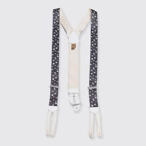Trafalgar Black and White Stars Print Genuine Silk Suspenders Braces
