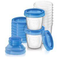 Philips AVENT SCF618/10 Aufbewahrungssystem für Muttermilch, 10 x 180 ml Becher