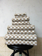Luxury Egyptian Cotton 650gsm Beige and Cream Checked Towels 6 Piece Bale Set